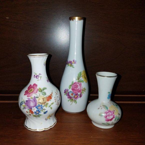 Vintage Floral Bud Vases Hammersley Lefton - 3